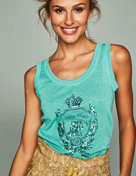 Camiseta Lurex Verde Highly Preppy para Mujer