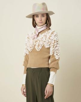 Jersey Rushour Flores Camel Silvian Heach para Mujer